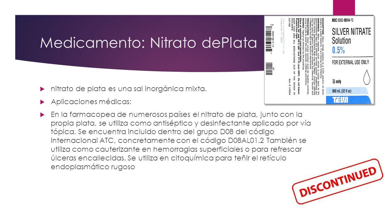 Medicamento: Nitrato dePlata