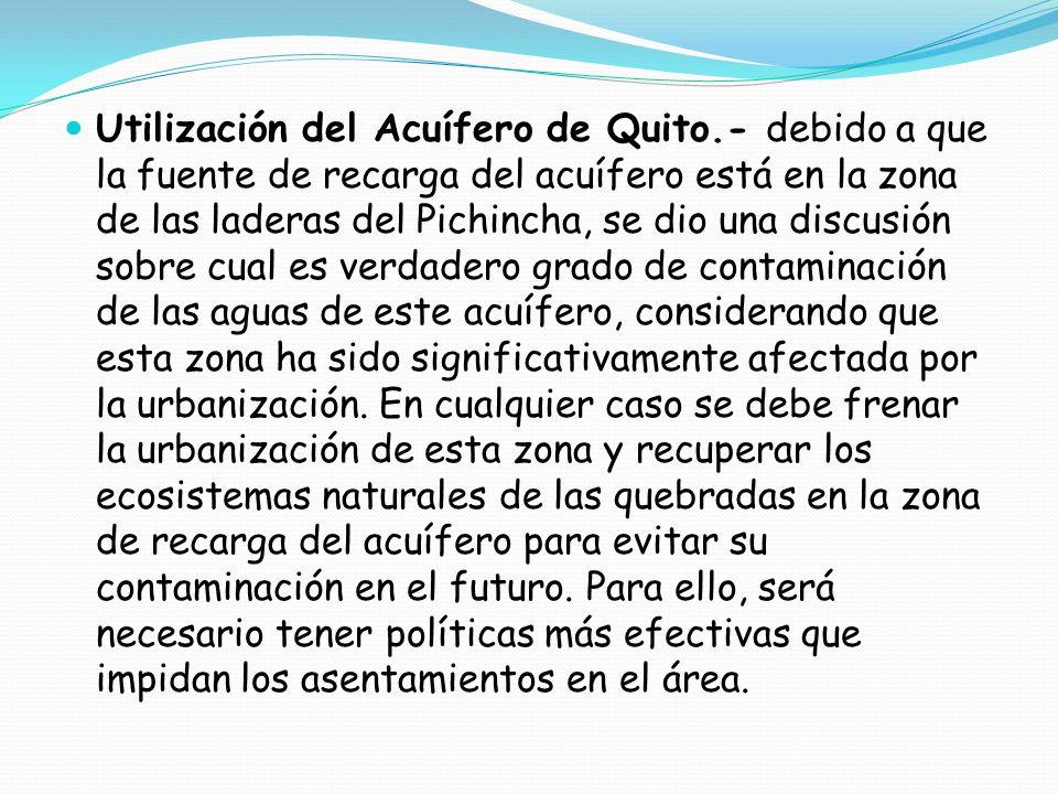 Utilización del Acuífero de Quito