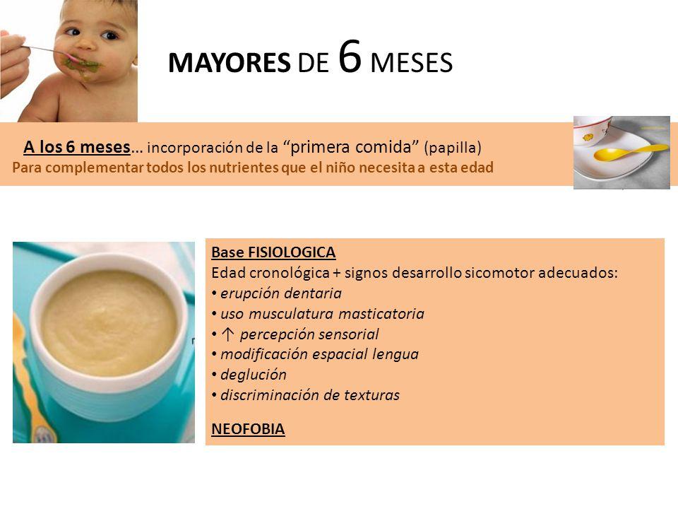 MAYORES DE 6 MESES A los 6 meses… incorporación de la primera comida (papilla)