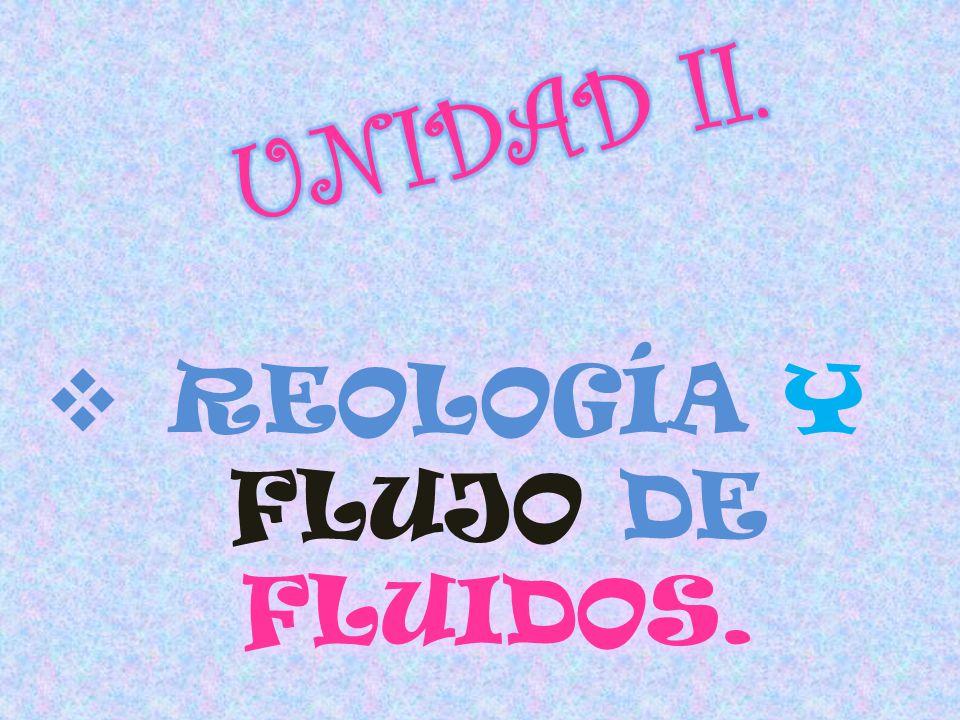 REOLOGÍA Y FLUJO DE FLUIDOS.