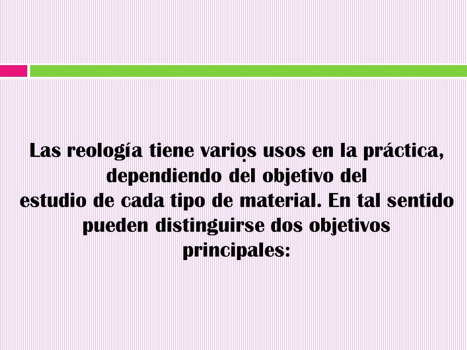 Las reología tiene varios usos en la práctica, dependiendo del objetivo del
