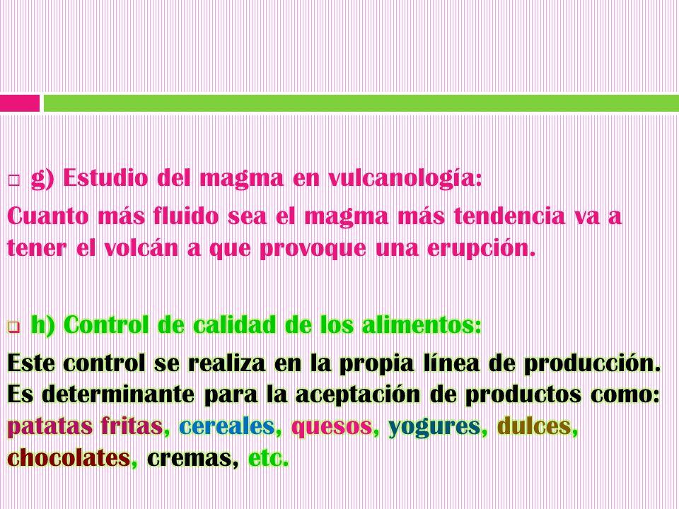 g) Estudio del magma en vulcanología: