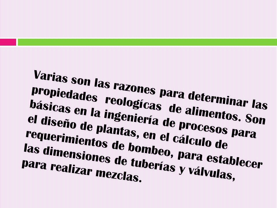 Varias son las razones para determinar las propiedades reologícas de alimentos.