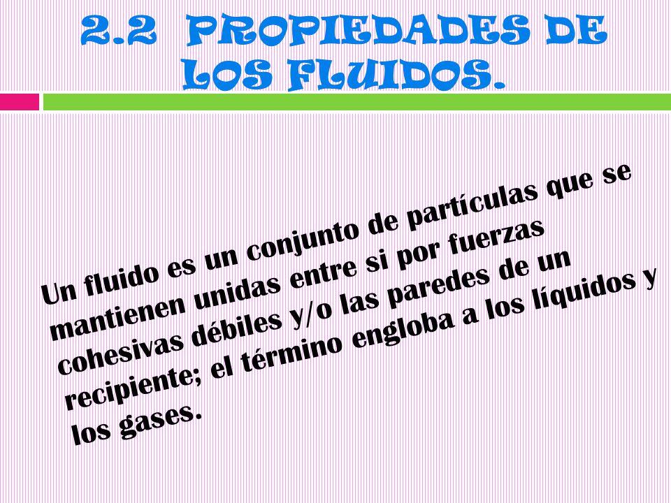 2.2 PROPIEDADES DE LOS FLUIDOS.