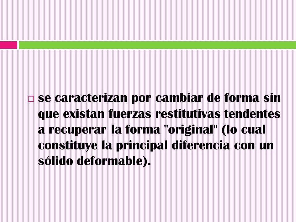 se caracterizan por cambiar de forma sin que existan fuerzas restitutivas tendentes a recuperar la forma original (lo cual constituye la principal diferencia con un sólido deformable).