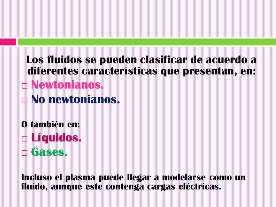 Newtonianos. No newtonianos. Líquidos. Gases.
