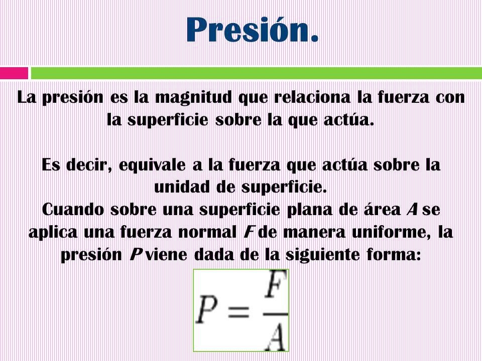 Presión. La presión es la magnitud que relaciona la fuerza con la superficie sobre la que actúa.