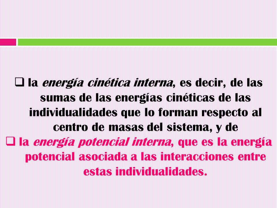 la energía cinética interna, es decir, de las sumas de las energías cinéticas de las individualidades que lo forman respecto al centro de masas del sistema, y de