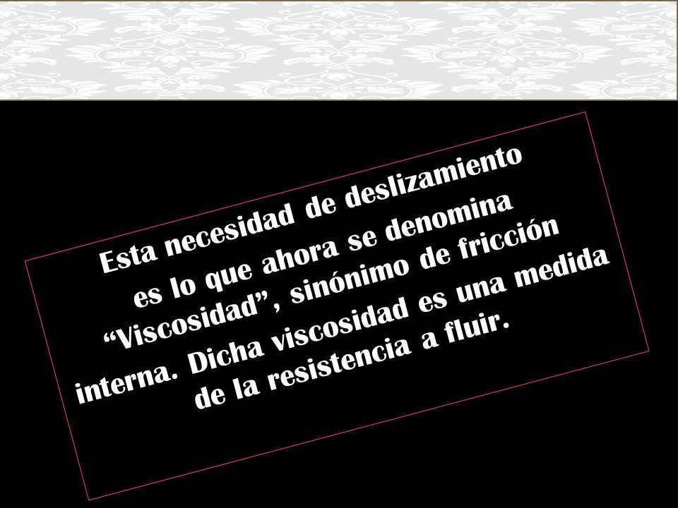 Esta necesidad de deslizamiento es lo que ahora se denomina Viscosidad , sinónimo de fricción interna.