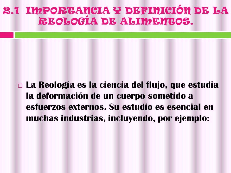 2.1 IMPORTANCIA Y DEFINICIÓN DE LA REOLOGÍA DE ALIMENTOS.