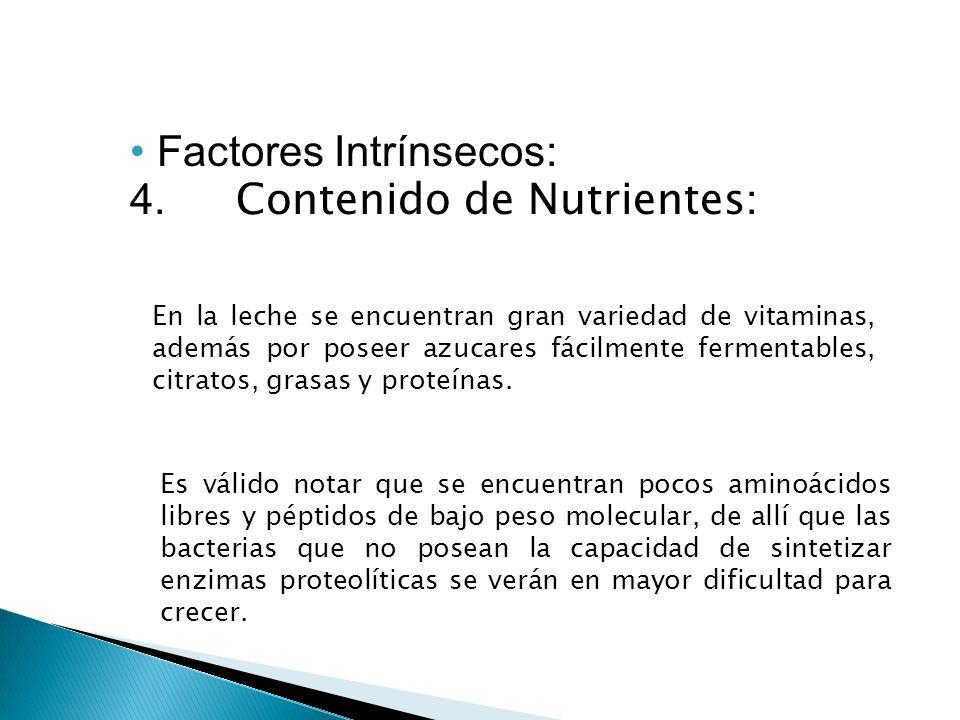 Factores Intrínsecos: 4. Contenido de Nutrientes: