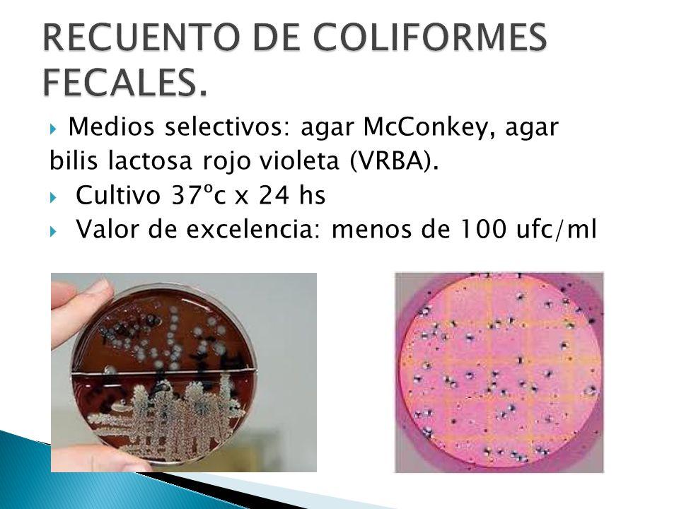 RECUENTO DE COLIFORMES FECALES.