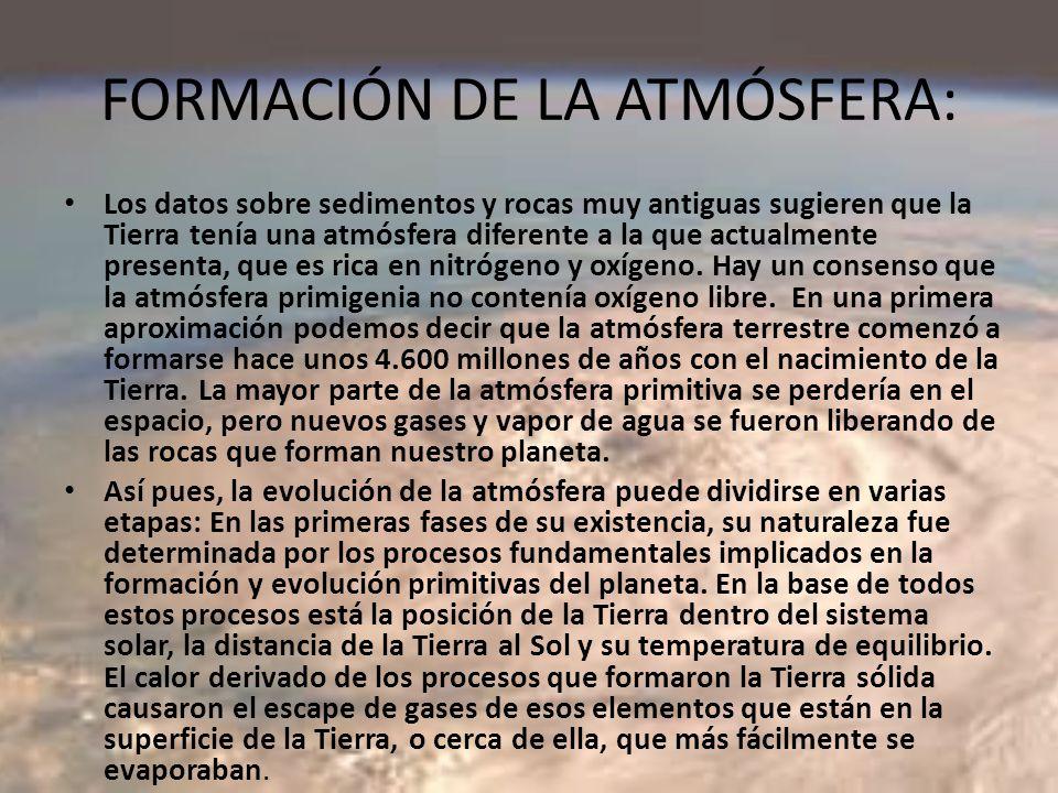FORMACIÓN DE LA ATMÓSFERA:
