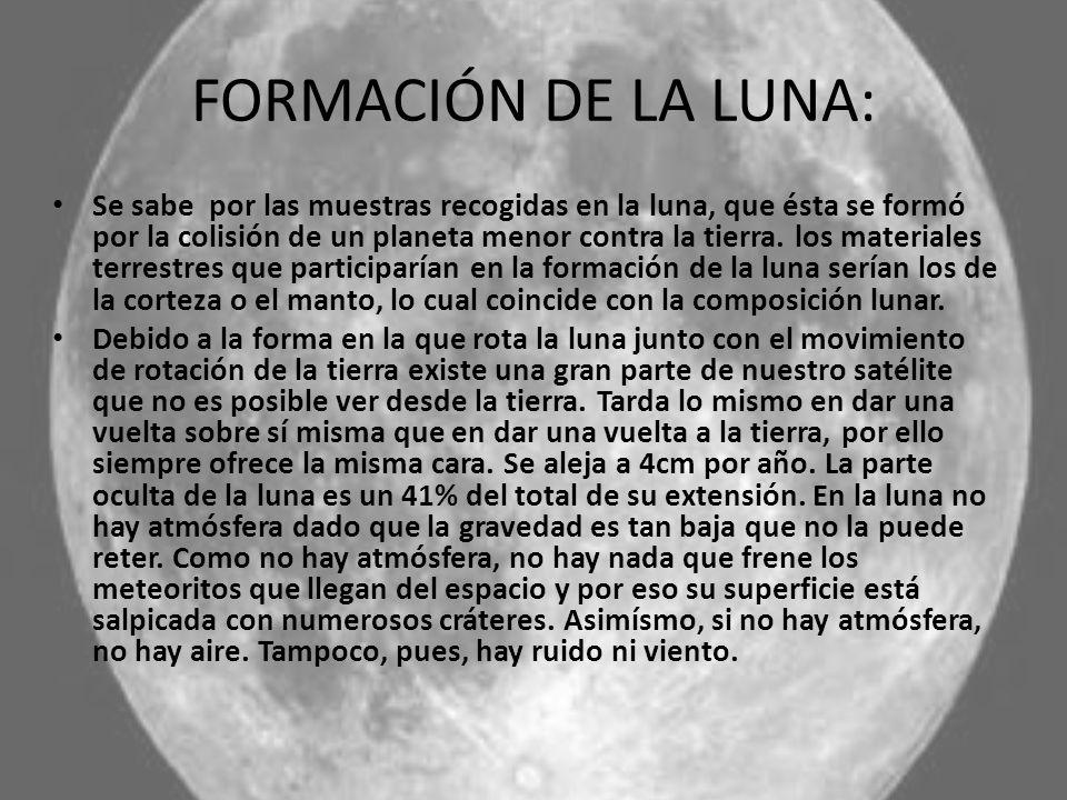 FORMACIÓN DE LA LUNA: