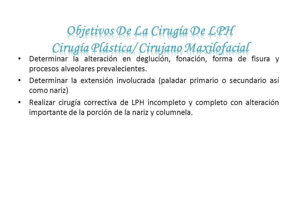 Objetivos De La Cirugía De LPH Cirugía Plástica/ Cirujano Maxilofacial