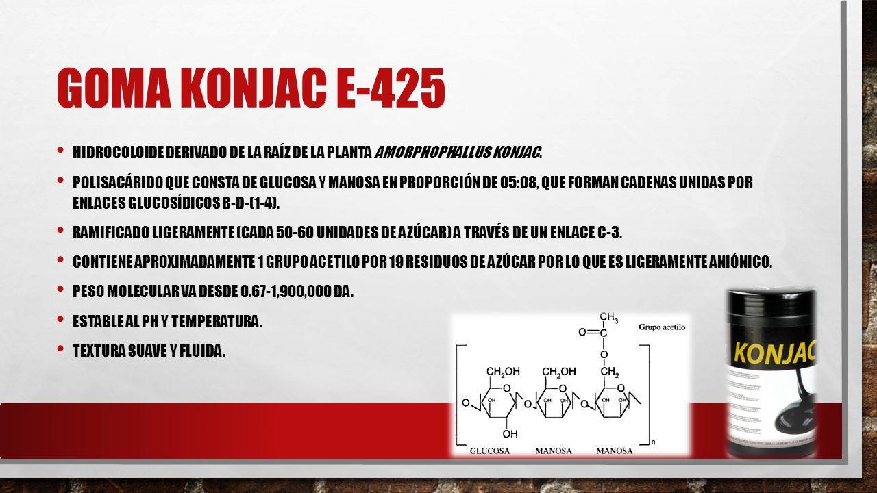 Goma KONJAC E-425 Hidrocoloide derivado de la raíz de la planta Amorphophallus konjac.