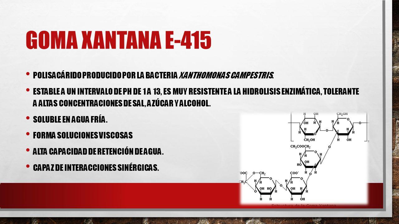Goma XANTANA E-415 Polisacárido producido por la bacteria Xanthomonas campestris.