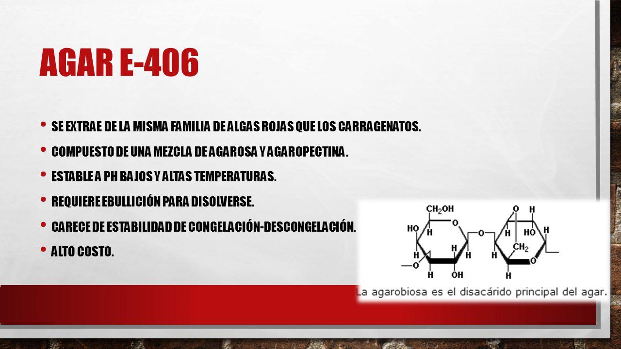 Agar E-406 Se extrae de la misma familia de algas rojas que los carragenatos. Compuesto de una mezcla de agarosa y agaropectina.
