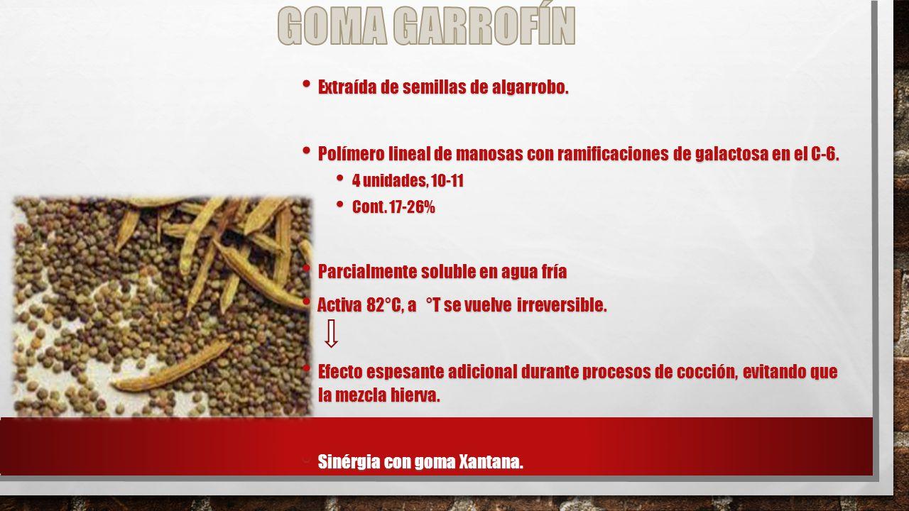GOMA GARROFÍN Extraída de semillas de algarrobo.