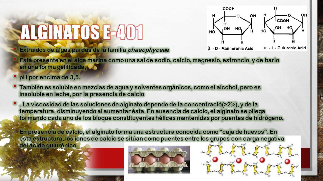 ALGINATOS E-401 Extraidos de algas pardas de la familia phaeophyceae