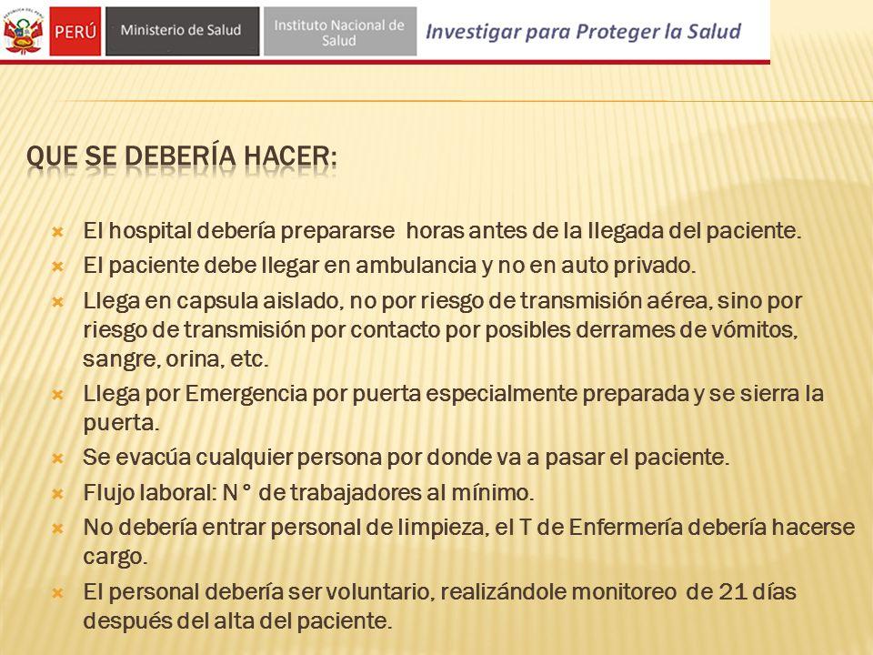 Que se debería hacer: El hospital debería prepararse horas antes de la llegada del paciente.