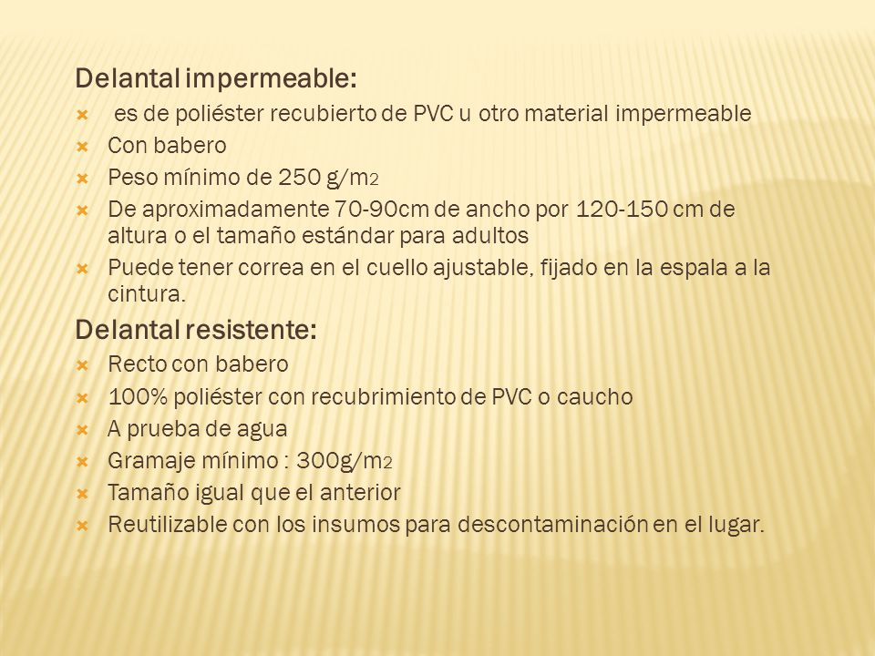 Delantal impermeable: