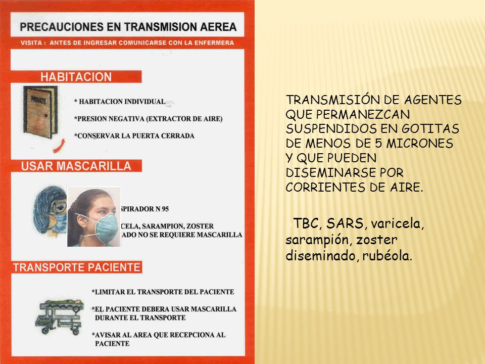 TBC, SARS, varicela, sarampión, zoster diseminado, rubéola.
