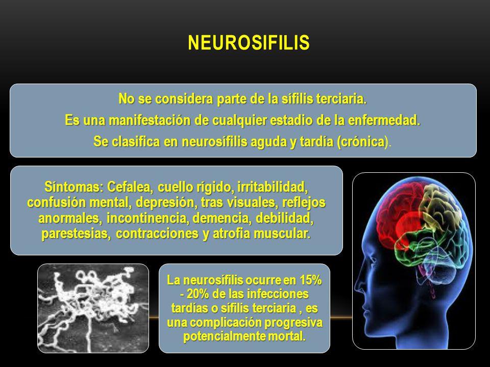 neurosifilis No se considera parte de la sífilis terciaria.