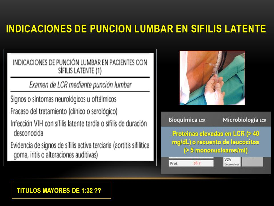 INDICACIONES DE PUNCION LUMBAR EN SIFILIS LATENTE