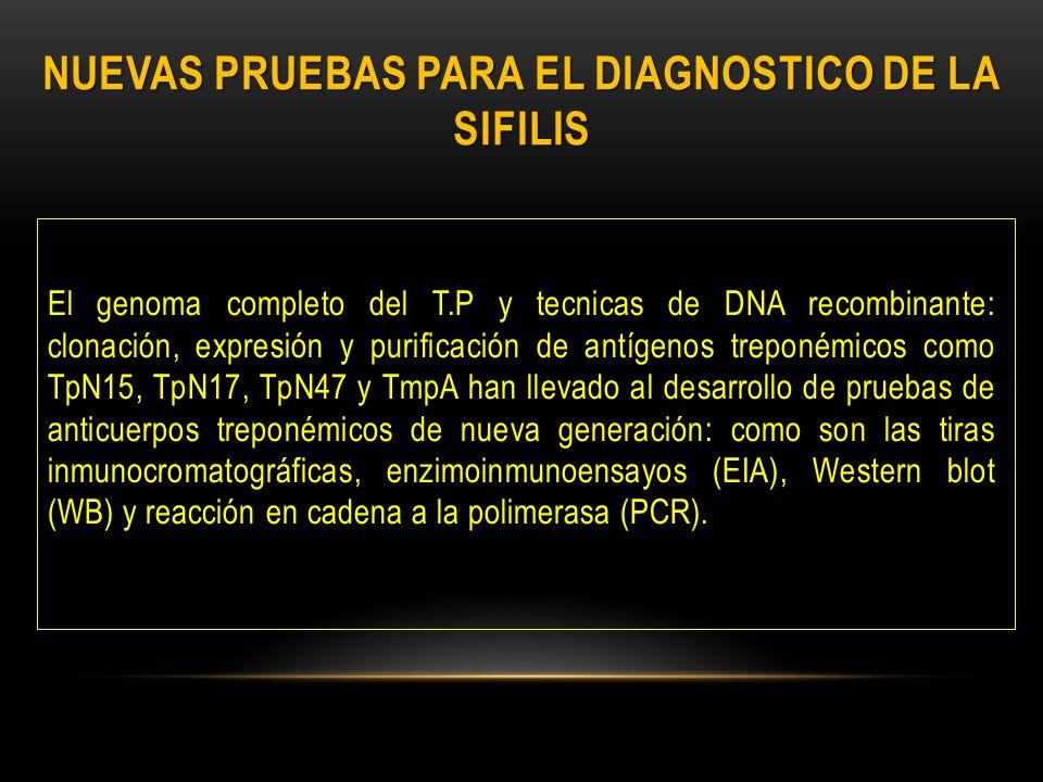 NUEVAS PRUEBAS PARA EL DIAGNOSTICO DE LA SIFILIS