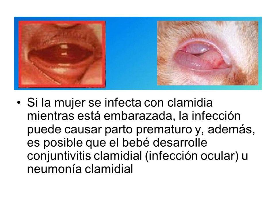 Si la mujer se infecta con clamidia mientras está embarazada, la infección puede causar parto prematuro y, además, es posible que el bebé desarrolle conjuntivitis clamidial (infección ocular) u neumonía clamidial