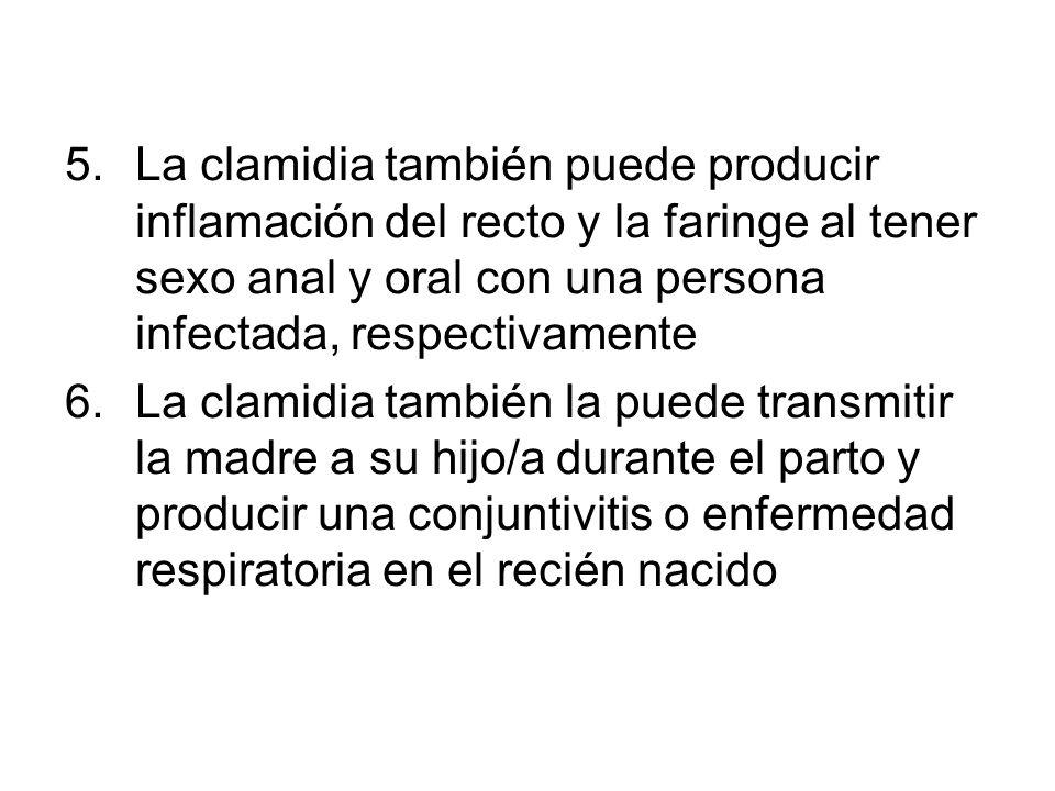 La clamidia también puede producir inflamación del recto y la faringe al tener sexo anal y oral con una persona infectada, respectivamente