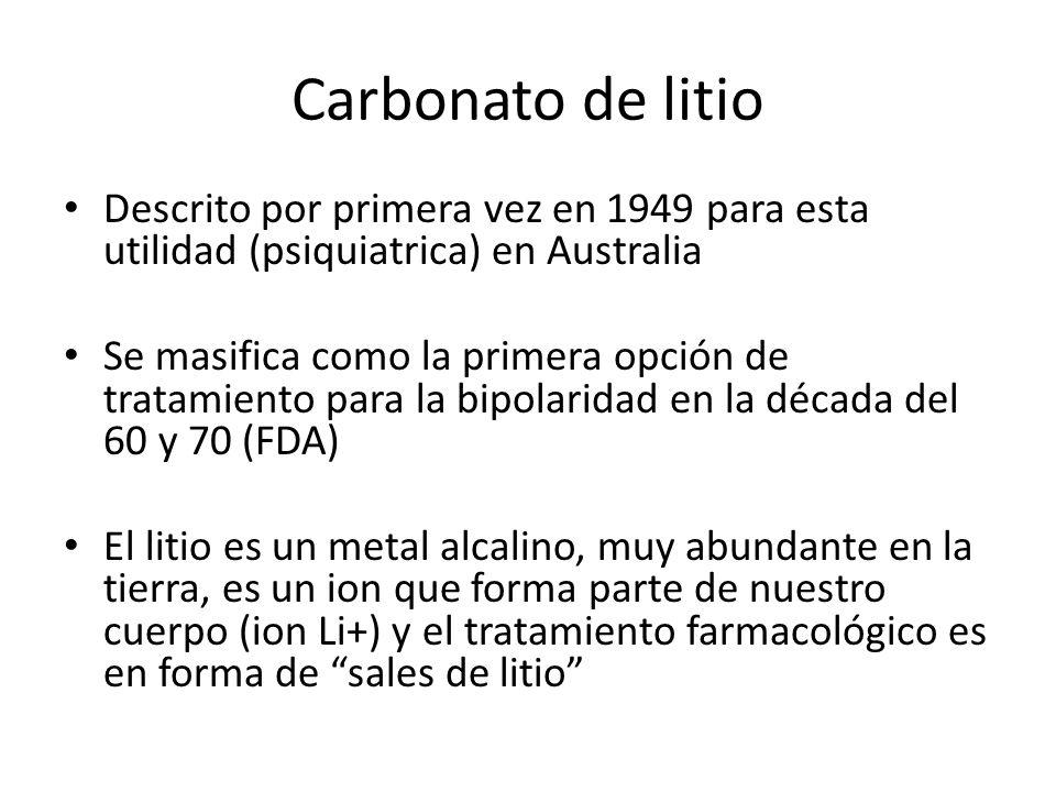 Carbonato de litio Descrito por primera vez en 1949 para esta utilidad (psiquiatrica) en Australia.