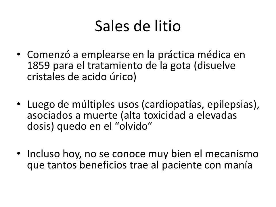 Sales de litio Comenzó a emplearse en la práctica médica en 1859 para el tratamiento de la gota (disuelve cristales de acido úrico)