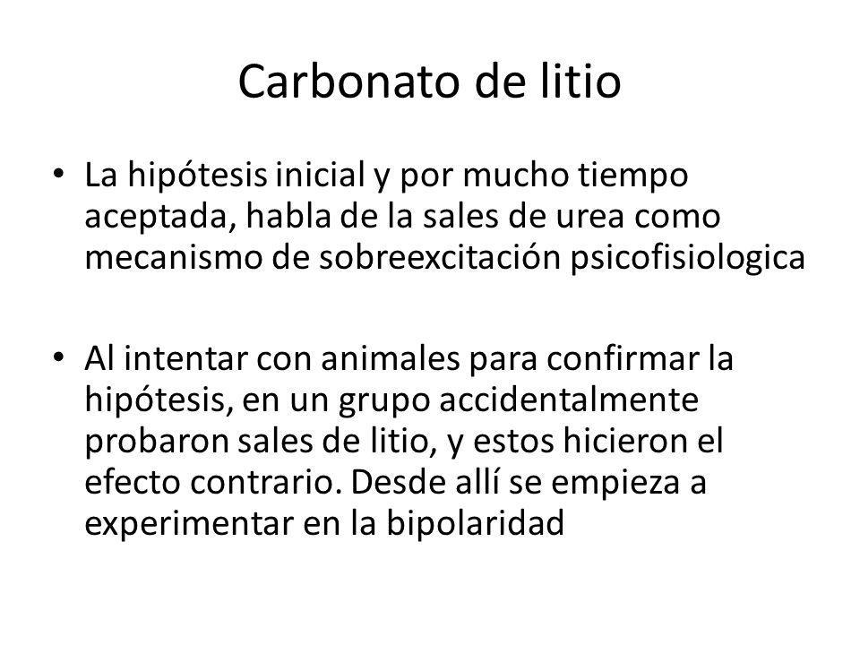 Carbonato de litio La hipótesis inicial y por mucho tiempo aceptada, habla de la sales de urea como mecanismo de sobreexcitación psicofisiologica.