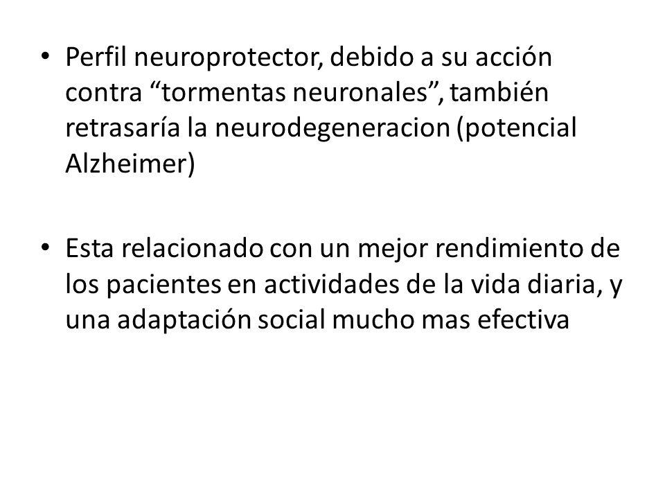 Perfil neuroprotector, debido a su acción contra tormentas neuronales , también retrasaría la neurodegeneracion (potencial Alzheimer)