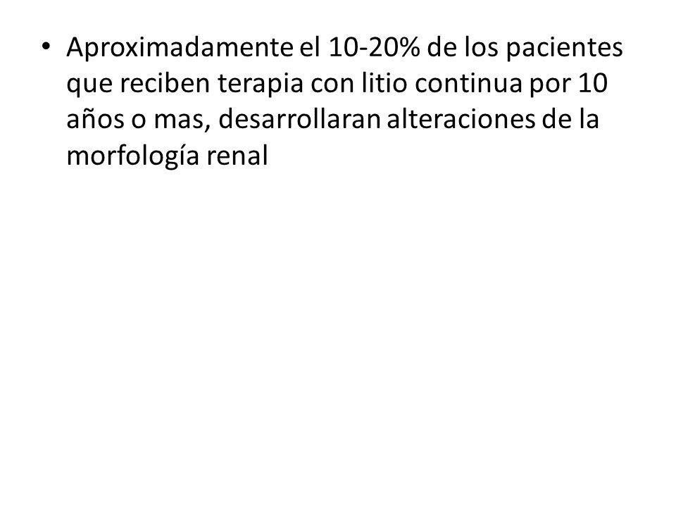 Aproximadamente el 10-20% de los pacientes que reciben terapia con litio continua por 10 años o mas, desarrollaran alteraciones de la morfología renal