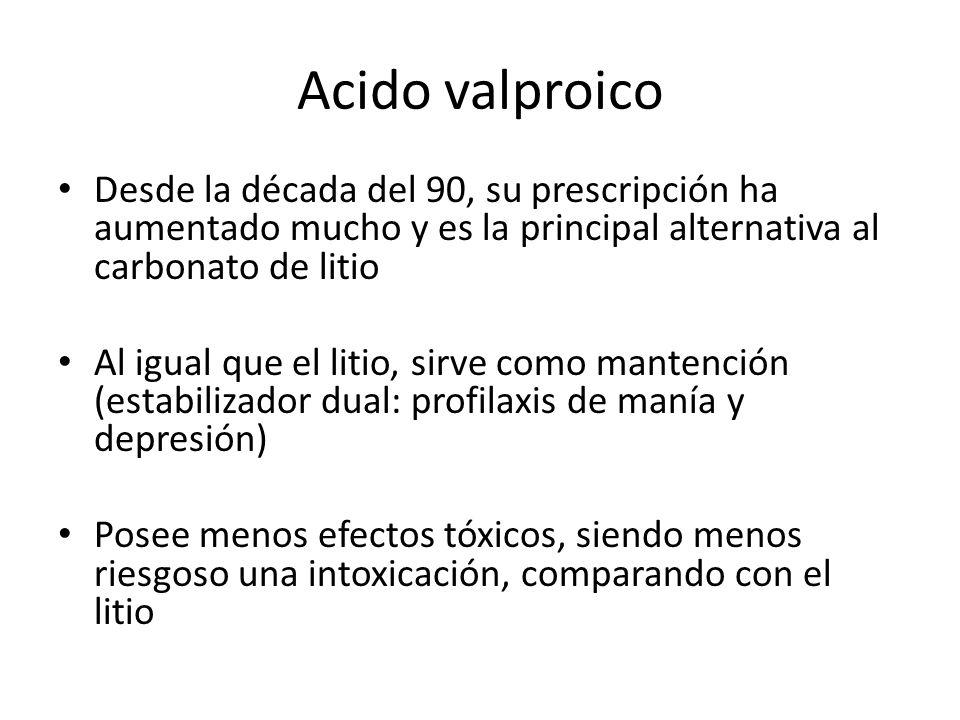 Acido valproico Desde la década del 90, su prescripción ha aumentado mucho y es la principal alternativa al carbonato de litio.