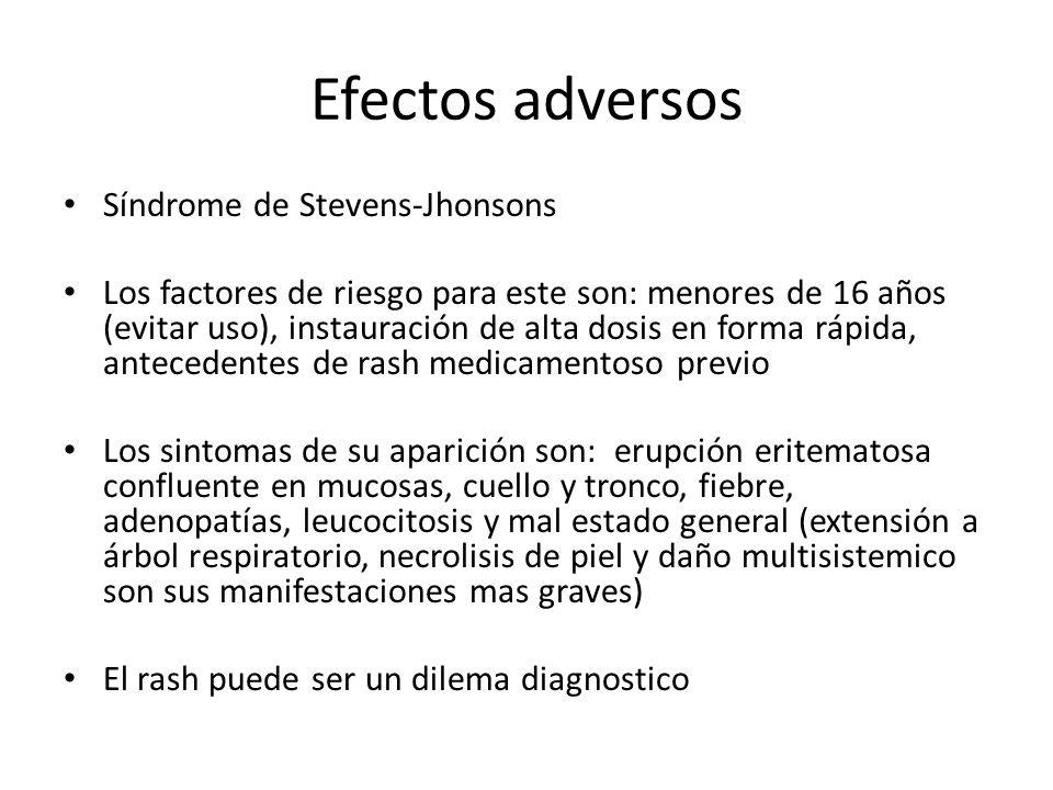 Efectos adversos Síndrome de Stevens-Jhonsons