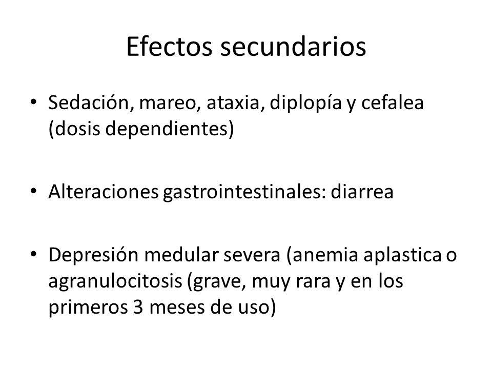 Efectos secundarios Sedación, mareo, ataxia, diplopía y cefalea (dosis dependientes) Alteraciones gastrointestinales: diarrea.