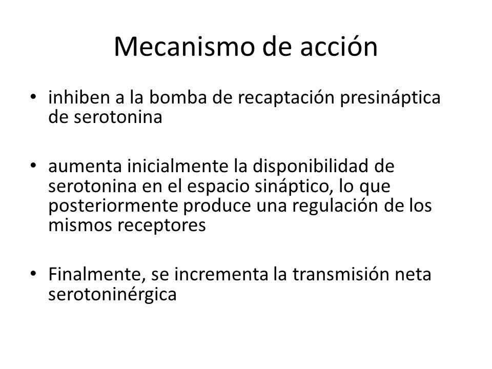 Mecanismo de acción inhiben a la bomba de recaptación presináptica de serotonina.