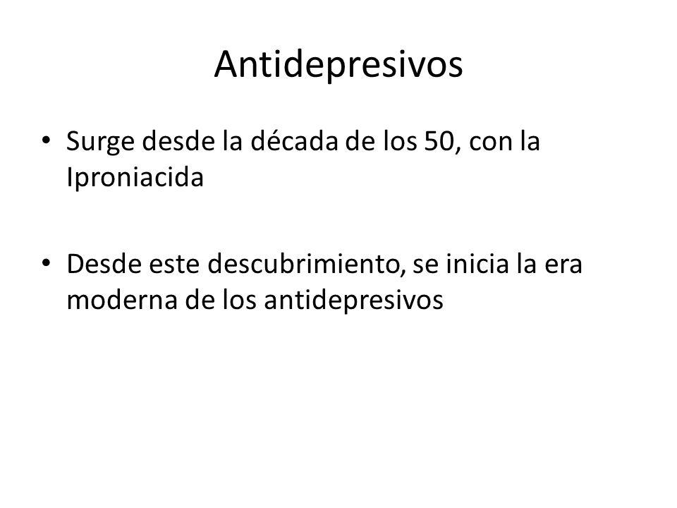 Antidepresivos Surge desde la década de los 50, con la Iproniacida