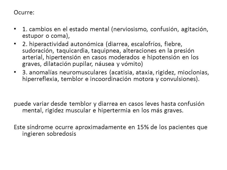 Ocurre: 1. cambios en el estado mental (nerviosismo, confusión, agitación, estupor o coma),