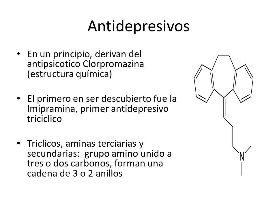 Antidepresivos En un principio, derivan del antipsicotico Clorpromazina (estructura química)