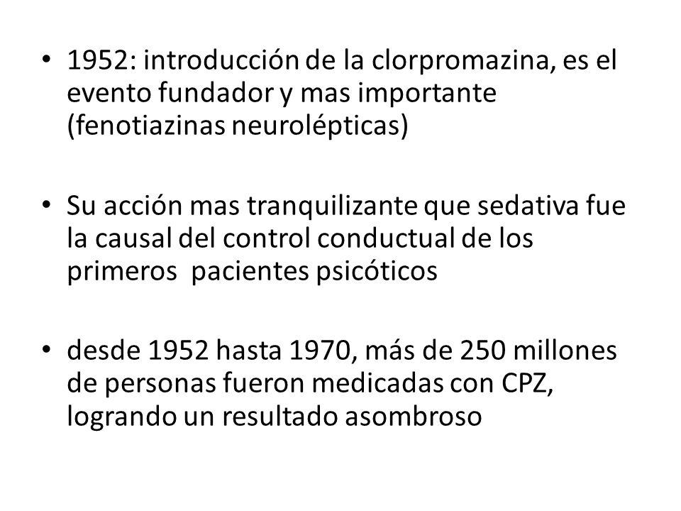 1952: introducción de la clorpromazina, es el evento fundador y mas importante (fenotiazinas neurolépticas)
