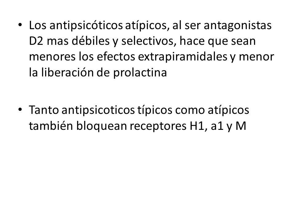 Los antipsicóticos atípicos, al ser antagonistas D2 mas débiles y selectivos, hace que sean menores los efectos extrapiramidales y menor la liberación de prolactina