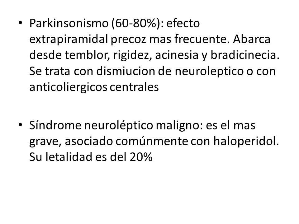 Parkinsonismo (60-80%): efecto extrapiramidal precoz mas frecuente