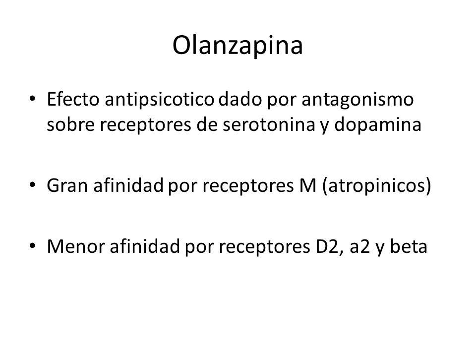 Olanzapina Efecto antipsicotico dado por antagonismo sobre receptores de serotonina y dopamina. Gran afinidad por receptores M (atropinicos)