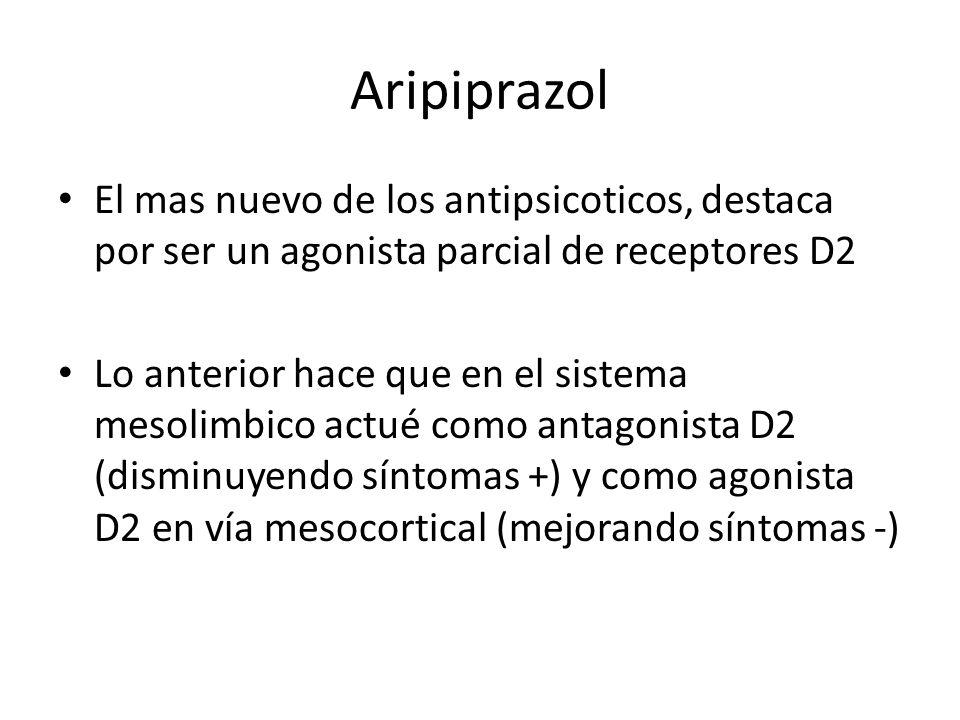Aripiprazol El mas nuevo de los antipsicoticos, destaca por ser un agonista parcial de receptores D2.