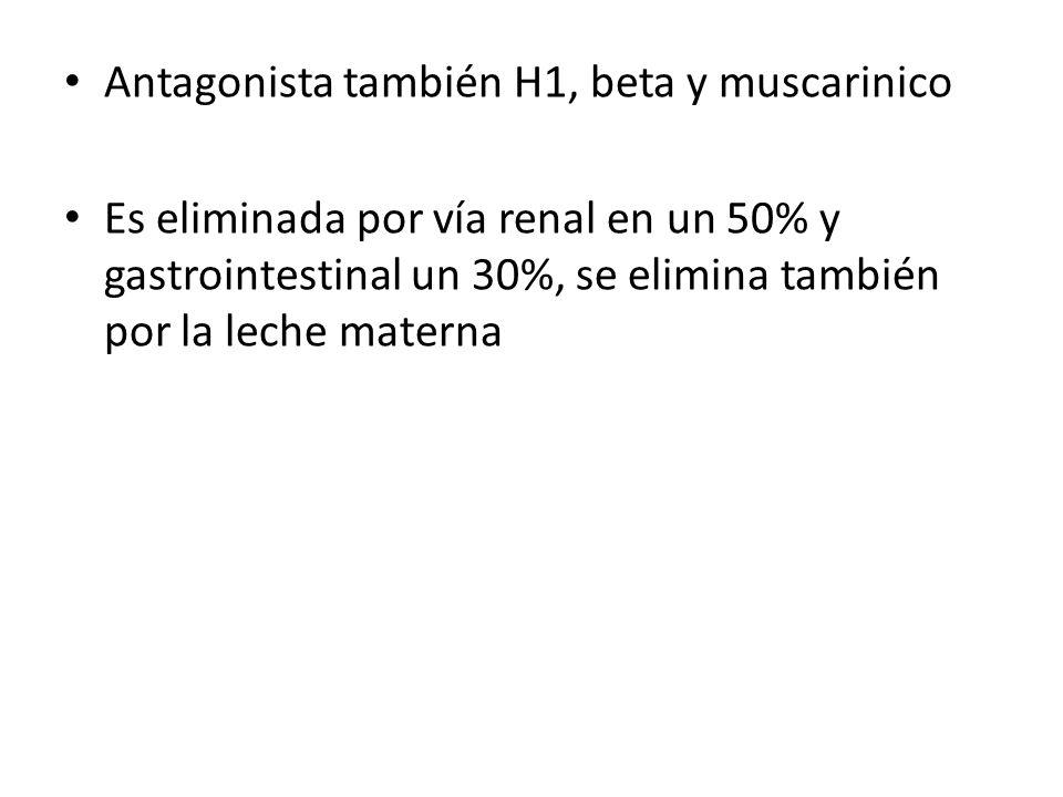 Antagonista también H1, beta y muscarinico